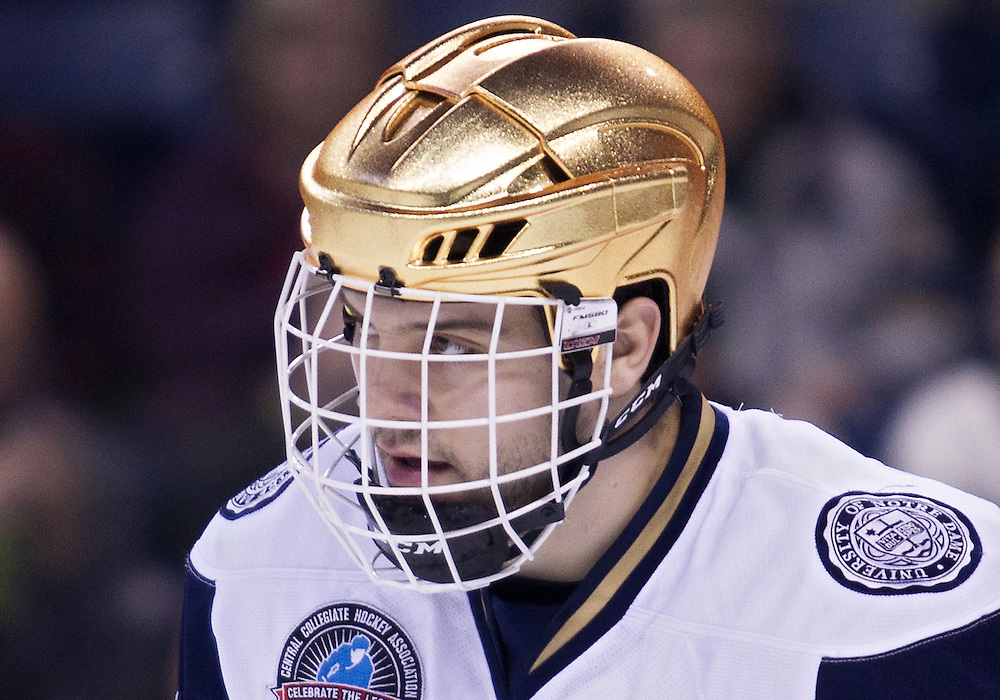 March 01, 2013:  Notre Dame left wing Jeff Costello (11) during NCAA Hockey game action between the Notre Dame Fighting Irish and the Bowling Green Falcons at Compton Family Ice Arena in South Bend, Indiana.  Notre Dame defeated Bowling Green 4-3.