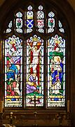 Stained glass east window by Francis Skeat 1961,  Crucifixion, Chelmonidiston church, Suffolk, England, UK