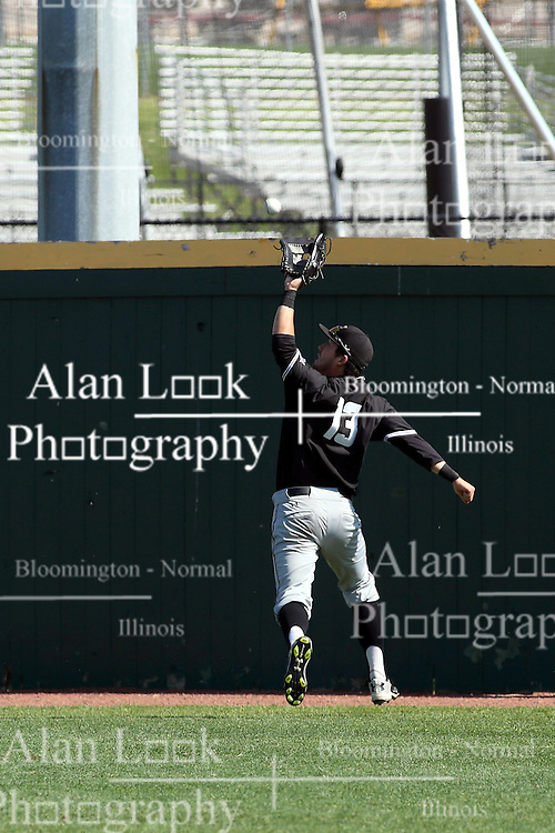 17 April 2016:  Ryan Smith pulls in a well hit ball near the warning track during an NCAA Division I Baseball game between the Southern Illinois Salukis and the Illinois State Redbirds in Duffy Bass Field, Normal IL