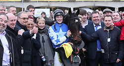 Kemboy in the parade ring with jockey David Mullins and owners, the Supreme Horse Racing Club after winning The Savills Steeplechase during day three of the Leopardstown Christmas Festival at Leopardstown Racecourse.