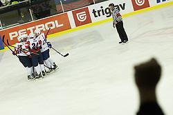 Players of Slovenia during ice-hockey match between Slovenia and Austria in Slovenia Euro ice hockey challenge, on November 10, 2012 at Hala Tivoli, Ljubljana, Slovenia. (Photo By Grega Valancic / Sportida)