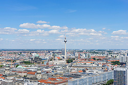 Daytime skyline view of Berlin with TV Tower or Fernsehturm in Germany