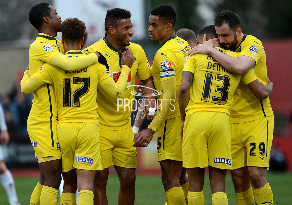 Plymouth players celebrate second goal during the Sky Bet League 2 match between Cheltenham Town and Plymouth Argyle at Whaddon Road, Cheltenham, England on 28 March 2015. Photo by Alan Franklin.