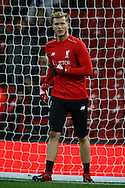 Liverpool Goalkeeper Loris Karius warming up prior to kick off. Premier League match, Liverpool v West Ham Utd at the Anfield stadium in Liverpool, Merseyside on Sunday 11th December 2016.<br /> pic by Chris Stading, Andrew Orchard sports photography.