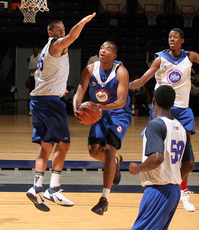 T.J. Warren plays during a basketball recruiting camp. Photo/Andrew Shurtleff