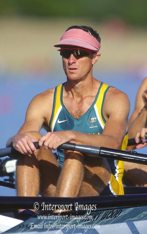Sydney. AUSTRALIA. 2000 Summer Olympic Regatta, Penrith. NSW.  <br /> <br /> AUS LM2X. Str: Bruce Hick.<br /> <br /> <br /> [Mandatory Credit Peter SPURRIER/ Intersport Images] Sydney International Regatta Centre (SIRC) 2000 Olympic Rowing Regatta00085138.tif