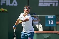 March 15, 2019 - Indian Wells, CA, U.S. - INDIAN WELLS, CA - MARCH 15: Roger Federer (SUI) serves during the BNP Paribas Open on March 15, 2019 at Indian Wells Tennis Garden in Indian Wells, CA. (Photo by George Walker/Icon Sportswire) (Credit Image: © George Walker/Icon SMI via ZUMA Press)