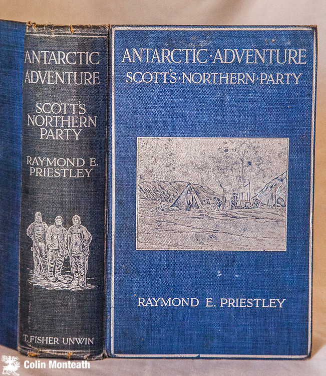 ANTARCTIC ADVENTURE - SCOTT'S NORTHERN PARTY, Raymond Priestley, T. Fisher Unwin, London, 1914. First edition. A very good copy of a scarce book - 1000 copies were destroyed during a fire at the publisher's warehouse after a Zepplin bombing raid, 1914, . Forced into an epic winter in a snowcave when the Terra Nova failed to pick them up, the party eventually trekked back to Cape Evans. Harrowing in the extreme, 382 page VG hardback, folding map in rear. Original blue & silver gilt pictorial cloth with the picture of the Antarctic camp on the front coverand of 3 men on the spine, v minor frays top & on lower spine ends, - an unusually bright copy. - $NZ1400 (Arnold Heine Collection)