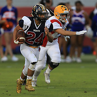 (Photograph by Bill Gerth/ for SVCN/6/24/17) Lincoln #24 Robert Najar looks for yardage  in the Charie Wedemeyer All Star Game at Levi Stadium, San Jose CA on 6/24/17. (North 13 South 13)