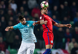 Rok Kronaveter of Slovenia vs Kyle Walker of England during football match between National teams of Slovenia and England in Round #3 of FIFA World Cup Russia 2018 Qualifier Group F, on October 11, 2016 in SRC Stozice, Ljubljana, Slovenia. Photo by Vid Ponikvar / Sportida