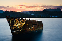 BARACOA, CUBA - CIRCA JANUARY 2020: Bay of Baracoa and old ship wreck