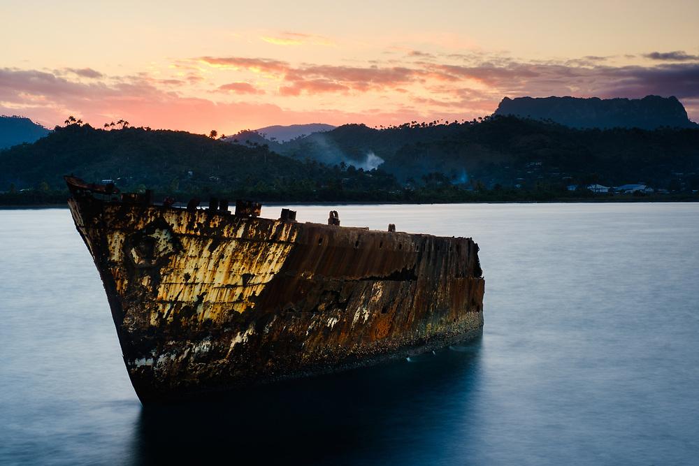 BARACOA, CUBA - CIRCA JANUARY 2020: Bay of Baracoa and old ship wreck