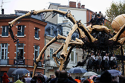 November 2, 2018 - Toulouse, France - Thousands of people came to see the street theatre company La Machine show ''Le Gardien du Temple''. The street theater company 'La Machine' comes back in Toulouse with their giant characters in a world premiere. The characters will play during four days a tale titled 'Le Gardien du Temple' based of Minotaur'story.  The 'La Machine' company played in Beijing, Liverpool, Anvers, Yokohama, Ottawa...Toulouse. France. November 2nd 2018. (Credit Image: © Alain Pitton/NurPhoto via ZUMA Press)