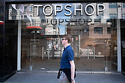 Closed down Topshop retail clothing store on 11th August 2021 in London, United Kingdom. Topshop was a British multinational fashion retailer of womens clothing. It had some 300 shops in the UK – plus online operations. It was part of the Arcadia Group, controlled by Sir Philip Green, but went into administration in late 2020. The Topshop brand was purchased by ASOS on 1 February 2021 to operate online only.
