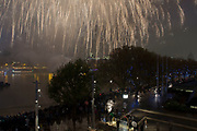 Skyline view of people gathered on the South Bank of the River Thames to watch the fireworks display for the Lord Mayors Show on November 12th 2016 in London, England, United Kingdom.