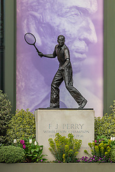 © Licensed to London News Pictures. 31/03/2020. London, UK. Fred Perry statue at The All England Lawn Tennis Club, Wimbledon. AELTC is set to announce on Wednesday (1 April) the cancellation of the Wimbledon Tennis Championships 2020 due to the coronavirus pandemic. The pandemic has led to the cancellation of major sporting events across the World as the coronavirus crisis continues. Photo credit: Alex Lentati/LNP