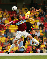 Photo: Frances Leader.<br /> Watford v Burnley. Coca Cola Championship.<br /> 20/08/2005.<br /> <br /> l-r - Burnley's Michael Duff and Watford's Darius Henderson