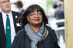 © Licensed to London News Pictures. 03/06/2018. London, UK. Shadow Home Secretary Diane Abbott leaves after laying flowers to mark one year since the London Bridge and Borough Market terror attacks. A series of events have taken place throughout the day, including a service of commemoration at Southwark Cathedral, the planting of an olive tree in the Cathedral grounds, a minute's silence at 4:30pm and the laying of flowers.  Photo credit : Tom Nicholson/LNP