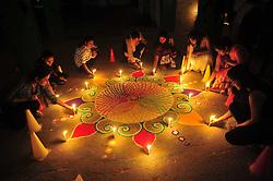 October 29, 2016 - Allahabad, Uttar Pradesh, India - Girls make rangoli on the occasion of Diwali festival in Allahabad. (Credit Image: © Prabhat Kumar Verma/Pacific Press via ZUMA Wire)