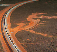 An iron ore train waits near the West Australian port of Port Hedland in the north west of the state.