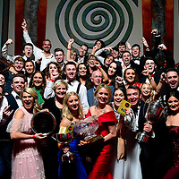 Leixlip Musical Society, Kildare, winners of the 'Best Overall Show Award, Gilbert Section, for West Side Story at the AIMS annual Musical Society awards in the INEC, Killarney at the weekend. Included are, Claire Tighe,'Best Director Award, Jacqueline Brunton, Best Actress in a Supporting Role.<br /> Photo: Don MacMonagle<br /> <br /> pr photo photo from AIMS<br /> <br /> AIMS-ASSOCIATION OF MUSICAL THEATRE AWARD WINNERS ANNOUNCED IN KILLARNEY<br /> <br /> 16th of June 2018 by Kate Furlong<br /> <br /> Loud applause could be heard in the Kingdom last night as The Association of Irish Musical Societies had its Annual Awards Ceremony in the INEC. Well over 1,400 members were in full voice as the winners were announced by MC Fergal D'arcy.<br /> <br /> Bravo Theatre Group were gliding high in the Sullivan Section as they took home 4 awards for their  powerful production of Ragtime including Best Musical Director for Shane Farrell, Best Chorus and topping the their night by winning Best Overall Show. Coolmine Musical Society were certainly following that dream as their production of All Shook Up took home Best Comedienne for Serena Salmon, Best Director for Pat McElwain, 3rd place in the Overall Show.<br /> <br /> In the Gilbert Section, Lexilip Musical and Variety Group were big winners on the night taking home Best Director for Claire Tighe, Best Musical Director for David Hayes, Best Actress in a Supporting Role for Jacqueline Brunton and Best Overall Show for their stunning production of West Side Story. For their hilarious production of The Producers, Teachers Musical Society won Best Comedian for Seán Hendley, Best Stage Management and Best Chorus. Carrick on-Suir Musical Society's majestic production of Into The Woods took home Best Technical and Runner Up in Best Overall Show.<br /> <br /> Fiona Shirran & Philippa Alford were awarded the Adjudicators Special Award for their crazy cameo in the saintly production of Sister Act with Kilcock Musical& Dramatic Socie