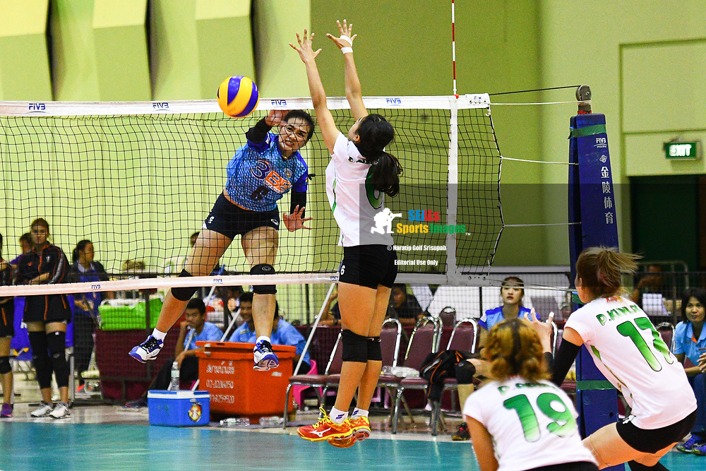 BANGKOK, THAILAND - MARCH 24: Kuttika Kaewpin of 3BB Nakornont #6 spiking over Chutimon Sagorn of King-Bangkok VC #6 during the 2017 Women's Volleyball Thai-Denmark Super League, MCC Hall The Mall , Bangkok, Thailand on March 24, 2017.<br /> .<br /> .<br /> .<br /> (Photo by: Naratip Golf Srisupab/SEALs Sports Images)<br /> .<br /> Any image use must include a mandatory credit line adjacent to the content which should read: Naratip Golf Srisupab/SEALs Sports Images