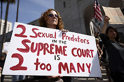 September 28, 2018 - Los Angeles, California, United States - Activists protest Supreme Court nominee, Judge Brett Kavanaugh. Los Angeles, California on September 28, 2018. Professor Christine Blasey Ford accused Kavanaugh of sexual assault. (Credit Image: © Ronen Tivony/NurPhoto/ZUMA Press)