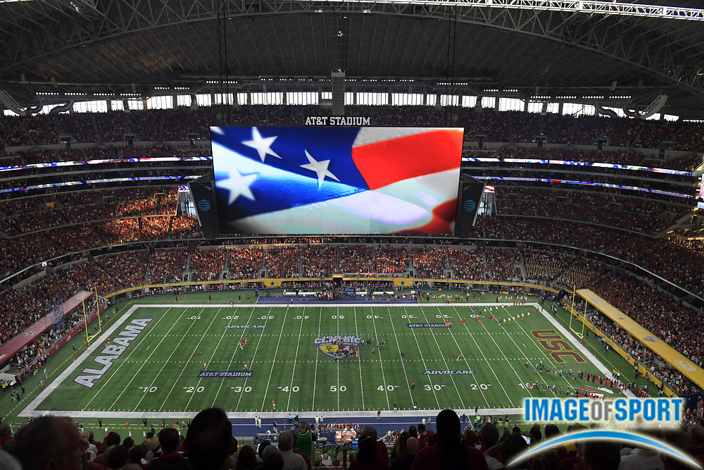 Sep 3, 2016; Arlington, TX, USA; General view of AT&T Stadium during the playing of the national anthem before a NCAA football game between the USC Trojans and the Alabama Crimson Tide at AT&T Stadium. Alabama defeated USC 52-6.