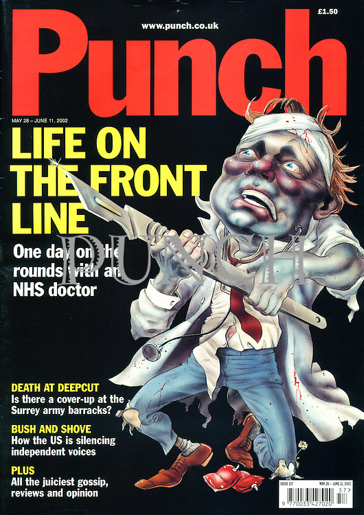Punch. (An NHS doctor wielding a scalpel as a weapon. Front cover, 28 May 2002)