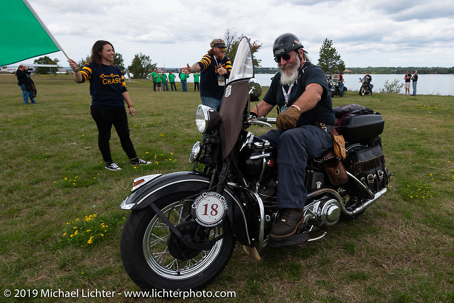 Willie Earhart heads out on his 1948 Harley-Davidson Panhead from Aune Osborne Park in Sault Sainte Marie, the site of the official start of the Cross Country Chase motorcycle endurance run from Sault Sainte Marie, MI to Key West, FL. (for vintage bikes from 1930-1948). Thursday, September 5, 2019. Photography ©2019 Michael Lichter.
