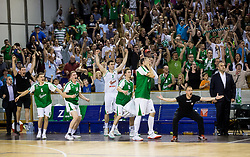 Players of Union Olimpija react during basketball match between KK Union Olimpija and KK Rogaska in 2nd Final game of Liga Nova KBM za prvaka 2016/17, on May 19, 2017 in Hala Tivoli, Ljubljana, Slovenia. Photo by Vid Ponikvar / Sportida