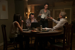 """Amanda Marsh (Jennifer Connelly), """"Supe"""" Eric Marsh (Josh Brolin), Marvel Steinbrink (Andie MacDowell), Fire Chief Duane Steinbrink (Jeff Bridges) finish dinner in the Marsh home dining room in Columbia Pictures' ONLY THE BRAVE."""