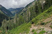 Two trail runners on Hannegan Pass Trail, Mount Baker Wilderness, North Cascades Washington
