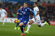 Jamie Vardy of Leicester city in action.  Premier league match, Swansea city v Leicester City at the Liberty Stadium in Swansea, South Wales on Sunday 12th February 2017.<br /> pic by Andrew Orchard, Andrew Orchard sports photography.