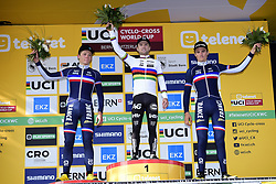 October 21, 2018 - France - FINE Eddy (FRA), ISERBYT Eli (BEL) of MARLUX - BINGOAL and BENOIST Antoine (FRA) of TEAM CHAZAL CANYON pictured during the podium ceremony after the 3th leg of the men under 23 Telenet UCI cyclo-cross World Cup 2018 race, the EKZ Cross Tour on October 21, 2018 in Bern, Switzerland, 21/10/2018 (Credit Image: © Panoramic via ZUMA Press)