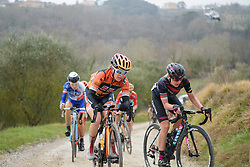 Karol-Ann Canuel (Boels Dolmans) takes on the steep penultimate gravel sector at Strade Bianche - Elite Women. A 127 km road race on March 4th 2017, starting and finishing in Siena, Italy. (Photo by Sean Robinson/Velofocus)