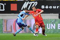FOOTBALL - FRENCH CHAMPIONSHIP 2010/2011 - L2 - LEMANS FC v LE HAVRE AC - 18/04/2011 - PHOTO JEAN MARIE HERVIO / DPPI - THORSTEIN HELSTAD (MANS) / BENJAMIN GENTON (HAC)