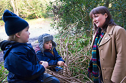 Pictured: Harry Pritchard (4) and Samuel Anderson (4) were keen to tell Maree Todd some secrets<br /> Minister for Early Years and Childcare, Maree Todd today met a kindergarten class taking part outdoor learning at Luariston Castle Edinburgh.<br /> <br /> <br /> Ger Harley   EEm 22 February 2018