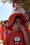 Families from Oakland's Melrose Leadership Academy visit a pumpkin patch near Pleasanton, California.
