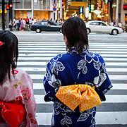Kimono girls on street, Hiroshima, Japan (June 2004)