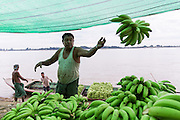 Three men unloading boat of bananas on the Chindwin Riverbank, Myinmu