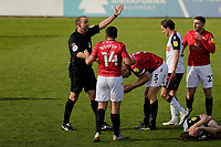 Football - 2020 / 2021 Sky Bet League Two - Morecambe vs. Bolton Wanderers<br /> <br /> Referee Carl Boyeson tries to restore order after Michael Jordan Williams of Bolton Wanderers had been fouled by Nat Knight-Percival of Morecambe, at the Mazuma Stadium.<br /> <br /> COLORSPORT/ALAN MARTIN