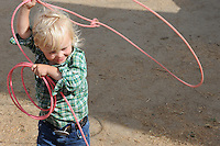 """Young roper Max Cohn, 3, gets some practice before Friday's """"Fight Hunger Night"""" at the California Rodeo Salinas."""