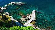 Dock and breakwater at Corniglia, Cinque Terre, Liguria, Italy