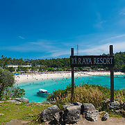 Panorama of the beach from Raya resort viewpoint, Raya island, Thailand