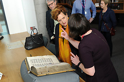 Dunfermline museum opening,Dunfermline, 6-9-2017<br /> <br /> Barbara Dickson looks at a very old book<br /> <br /> (c) David Wardle | Edinburgh Elite media