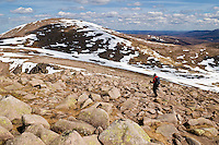 hiker hiking rugged rocky terrain towards Cairn Gorm, Cairngroms national park, Scotland