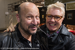 Susan and George Tsuchnikas of the Ace Cafe London at EICMA, the largest international motorcycle exhibition in the world. Milan, Italy. November 21, 2015.  Photography ©2015 Michael Lichter.