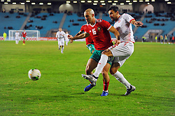 November 20, 2018 - Tunis, Tunisia - Nourreddine Mrabet (16)Moroccan players and Oussama Haddadi(5) during friendly Match between Tunisia and Morocco already qualified for the African Continental Tournament at the Olympic Stadium in Rades. (Credit Image: © Chokri Mahjoub/ZUMA Wire)