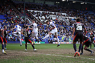 Tranmere Rovers' Ash Taylor heads the ball high and wide. Skybet football league 1 match, Tranmere Rovers v Carlisle United at Prenton Park in Birkenhead, England on Saturday 29th March 2014.pic by Chris Stading, Andrew Orchard sports photography.